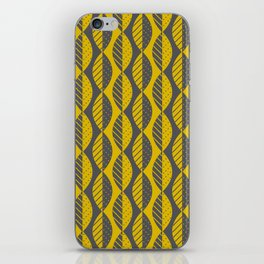 Mod Leaves in Charcoal Gray and Mustard Yellow iPhone Skin