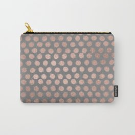 Simple Hand Painted Rosegold polkadots on gray background Carry-All Pouch