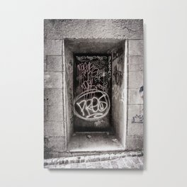 Graffiti on Urban Door in Black and White Metal Print