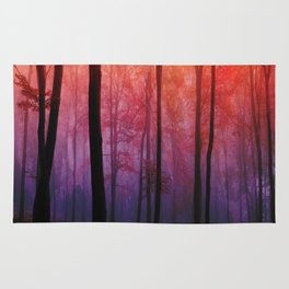 Whispering Woods, Colorful Landscape Art Rug