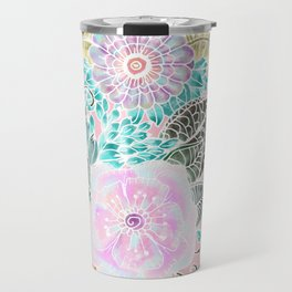 Blush pink lavender green white watercolor hand painted flowers Travel Mug