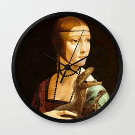 Lady with a Velociraptor Wall Clock
