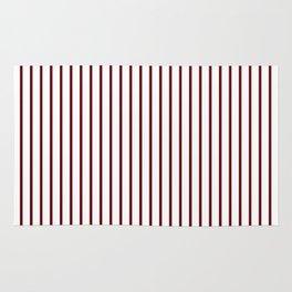 Royal Rose Red Pinstripe on White Rug