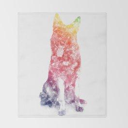 German Shepherd Watercolor Throw Blanket