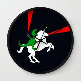 Dinosaur Riding Unicorn (With Lasers) Wall Clock