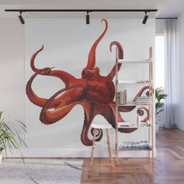 Red octopus Wall Mural