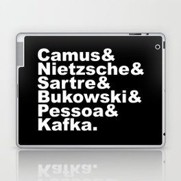 Camus& Nietzsche& Sartre& Bukowski& Pessoa& Kafka. White on Black Laptop & iPad Skin
