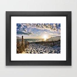 Foot Prints in the Sand Florida Beach Sunset Art Framed Art Print