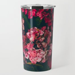 Christmas Hydrangea Red Floral Green Leaves Supple Flowers In The Garden Travel Mug