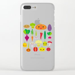Kawaii vegetables peppers, pumpkin beets carrots, eggplant, red hot peppers, cauliflower, broccoli Clear iPhone Case