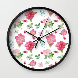 Botanical pink country roses hip floral pattern Wall Clock