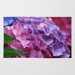 Colorful Rose Blue Lilac Hydrangea Hortensia Flower Rug