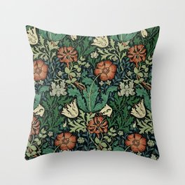 William Morris Compton Floral Art Nouveau Pattern Throw Pillow