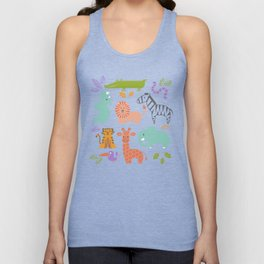 Zoo Pattern in Soft Colors Unisex Tank Top