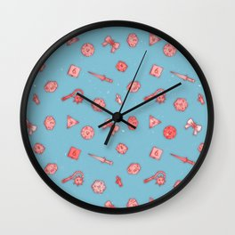 Dice and Daggers: Pink and blue Wall Clock