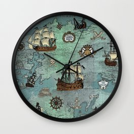 Pirate Ships Nautical Map Wall Clock