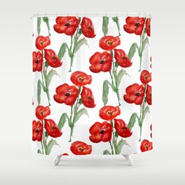 Watercolor Red Poppies Shower Curtain