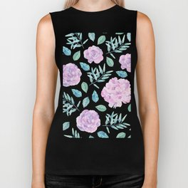 Pink roses with green leafs on black Biker Tank