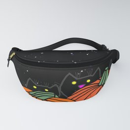 Black Cats in the Pumpkin Patch at Night Fanny Pack