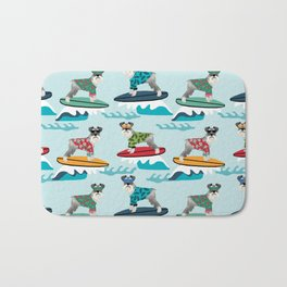 schnauzer surfing dog breed pattern Bath Mat