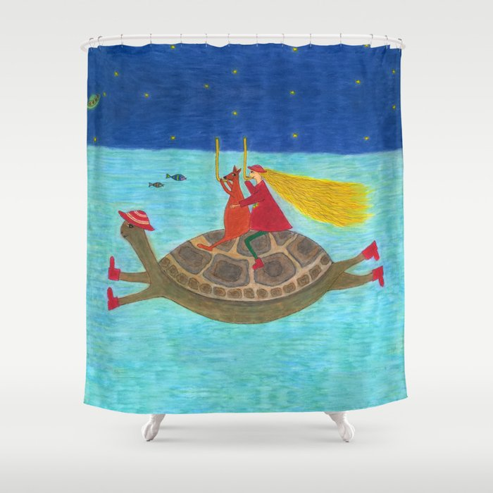 Ozzi and Lulu Snorkelling Shower Curtain