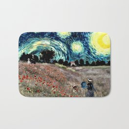 Monet's Poppies with Van Gogh's Starry Night Sky Bath Mat