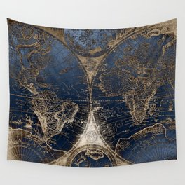 World Map Deep Blue and Gold Wall Tapestry
