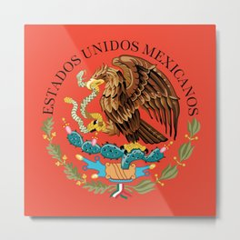 Mexican Flag seal on orange red background Metal Print