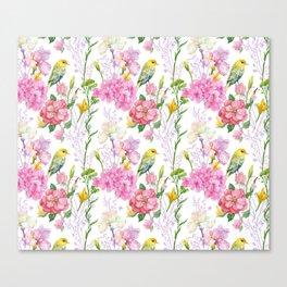 Pink Irises, Hydrangeas, Greenery, Yellow Birds Canvas Print
