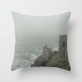 Botallack in the mist Throw Pillow