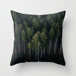 Aerial Photograph of a pine forest in Germany - Landscape Photography Throw Pillow