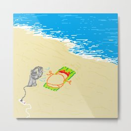Boy at beach with fan Metal Print