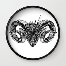 Zentangle Aries (Ram head) Wall Clock
