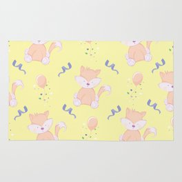 Happy Birthday Orange Fox on Yellow Background Pattern Rug
