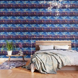 Starry Night in Los Angeles - Van Gogh Inspirations with Skyline and Mountains Wallpaper