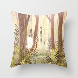 Little ghost in the woods Throw Pillow