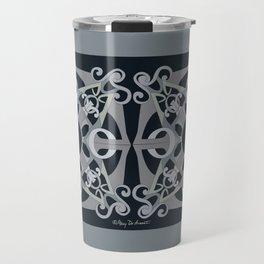 Support Love Mandala x 2 - Neutral/Black Travel Mug