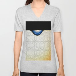 droplet with geometric Unisex V-Neck
