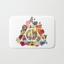 Floral Deathly Hallows Owl and Stag - White Bath Mat