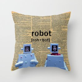 Flight of the Robots Throw Pillow
