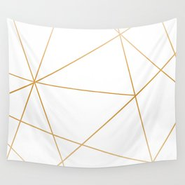 geometric gold and white Wall Tapestry