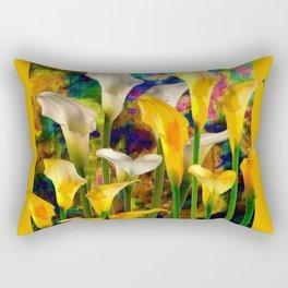 Golden Ivory Color Calla Lilies Golden Art Rectangular Pillow