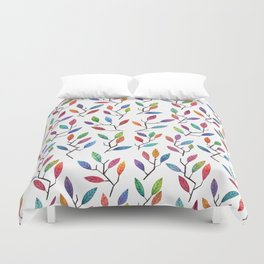 Leafy Twigs - Multicolored Duvet Cover