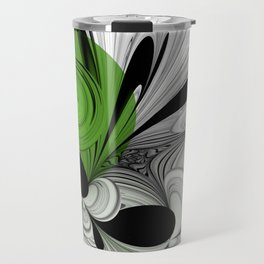 Abstract Black and White with Green Travel Mug