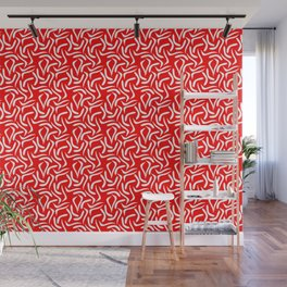 Wormy Abstraction red Wall Mural