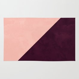 Modern blush pink burgundy watercolor color block geometric Rug