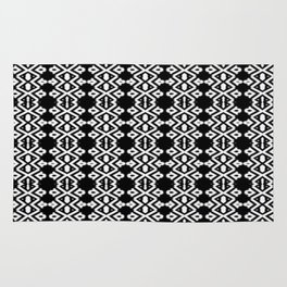 Arrows and Diamond Black and White Pattern 2 Rug