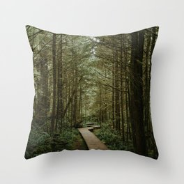 Temperate Rainforest Trail Throw Pillow