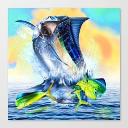 Jumpimg blue Marlin Chasing Bull Dolphins Canvas Print