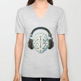 Mind Music Connection /3D render of human brain wearing headphones Unisex V-Neck